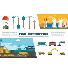 flat mining industry elements set vector image