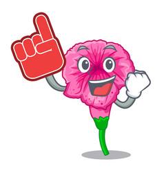 Foam finger petunia in a mascot flower basket vector
