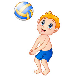 Funny little boy playing beach volley vector
