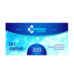Gift voucher bright design with light blue vector