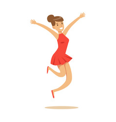 Girl in short red dress overwhelmed with happiness vector