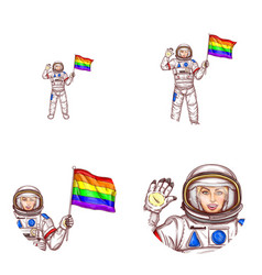 girl spaceman lgbt flag avatar icon vector image