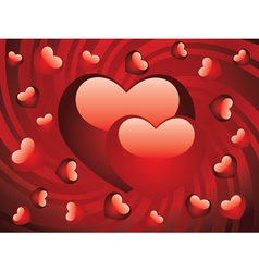 Glossy red hearts2 vector image