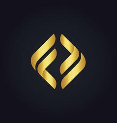 Gold circle shape colored square logo vector