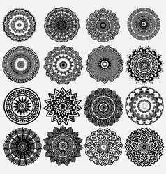 greek ornamental black and white round mandala vector image