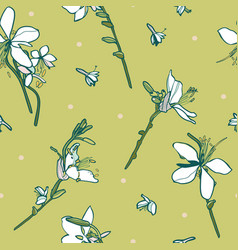 green floral pattern with lily vector image