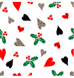 Hand-drawn hearts leaves and berries hellebore vector