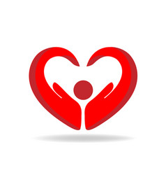 hands protection heart shape logo vector image