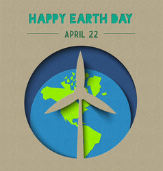 happy earth day paper cut wind energy vector image