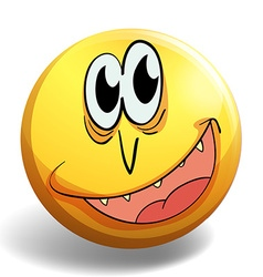 Happy face on yellow badge vector image vector image