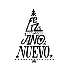 happy new year stroke spanish calligraphy vector image