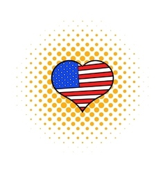 Heart in the USA flag colors icon comics style vector image