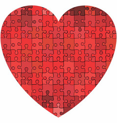 heart made of puzzle background vector image