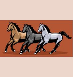 Horses running mascot vector