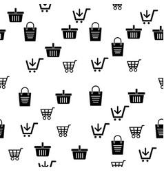 icon cart and basket pattern background vector image