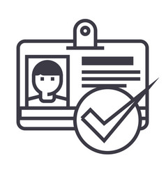 id passpermit line icon sign vector image