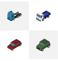 isometric automobile set of armored truck car vector image