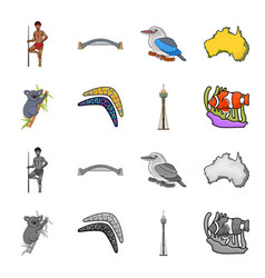 koala on bamboo boomerang sydney tower fish vector image