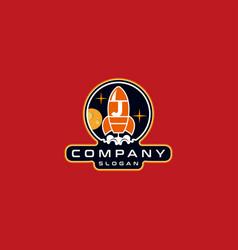 Letter j rocket logo design vector