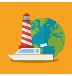 Lighthouse of travel and tourism concept vector