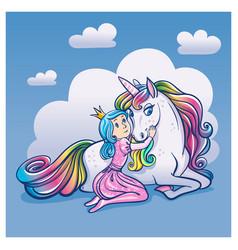 little princess girl and cute unicorn vector image