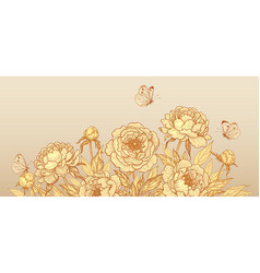 luxurious background with golden peony flowers vector image