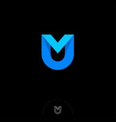 m u letter monogram origami ribbon web vector image