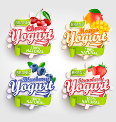 mango cherry strawberry blueberry yogurt label vector image