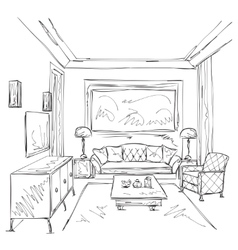 Modern interior room sketch Chair and furniture vector image