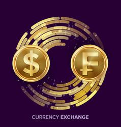 money currency exchange dollar franc vector image