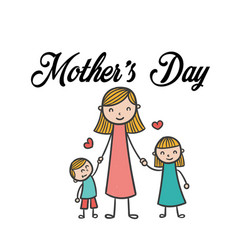 Mothers day mom daughter and son background vector