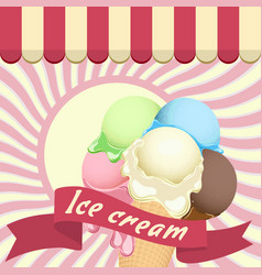 multicolor poster - large wafer ice cream cone vector image