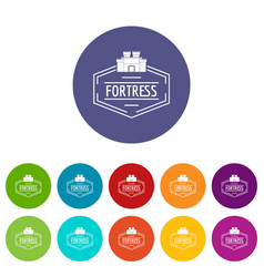 Old fortress icons set color vector