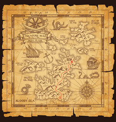 old pirate map with treasure location vector image