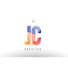 Orange blue alphabet letter jc j c logo icon vector