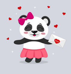 Panda in a skirt and with a pink bow holds a vector
