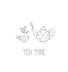 Polka dots teapot and cup with tea on white vector image