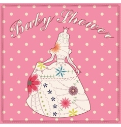 Princess vintage silhouette baby shower vector