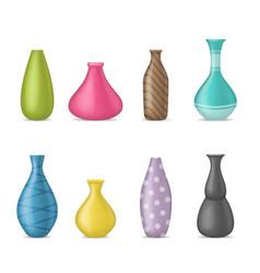 realistic 3d detailed ceramic vase color set vector image