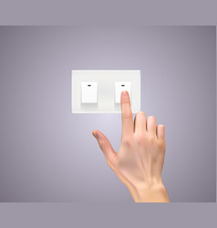 realistic 3d silhouette of hand with light switc vector image