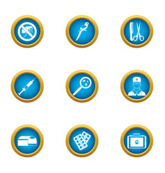 Remedy icons set flat style vector