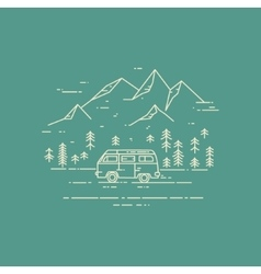 Road trip flat line on green vector image
