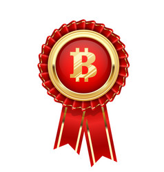 rosette with bitcoin symbol - cryptocurrency icon vector image