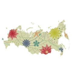 Russian map painted vintage vector image