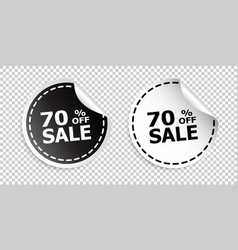 Sale sticker sale up to 70 percents black and vector