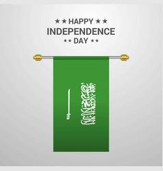 Saudi arabia independence day hanging flag vector