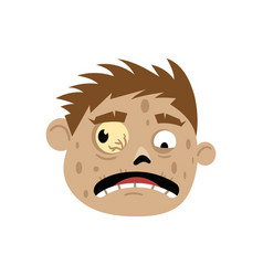 scared zombie head avatar in cartoon style vector image