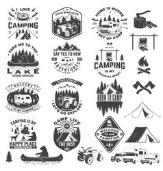 Set camping badges with design element vector