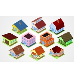 Set Isometric houses vector image