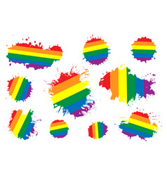 set shapes with lgbt rainbow happy and vector image
